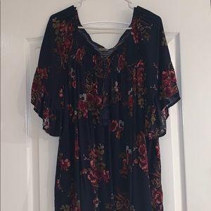 Navy flowered blouse